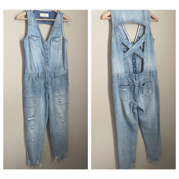 BLANKNYC Distressed Overalls Blue Size Small